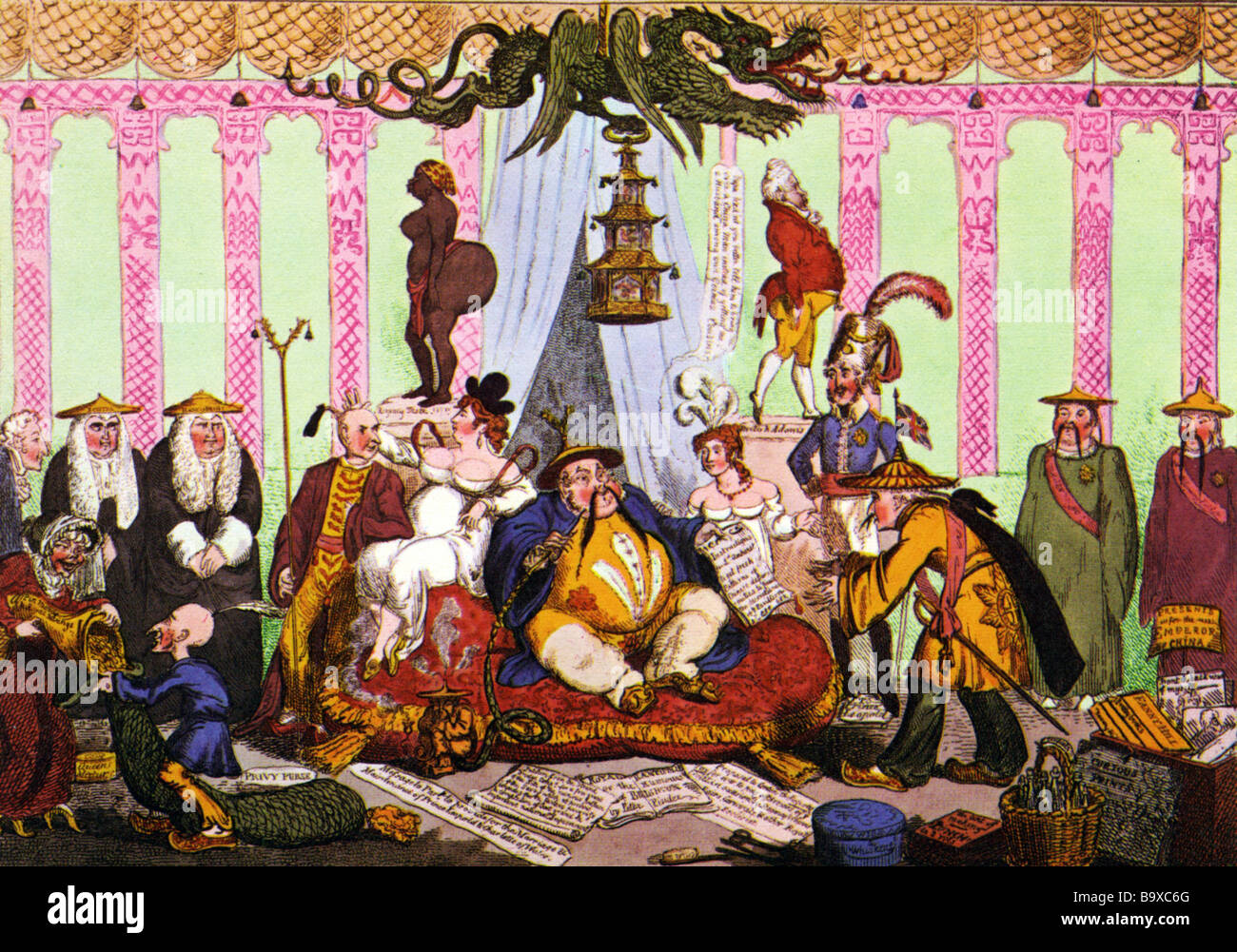 THE PRINCE REGENT S COURT at the Brighton Pavilion as satirised by George Cruikshank in 1816 Stock Photo