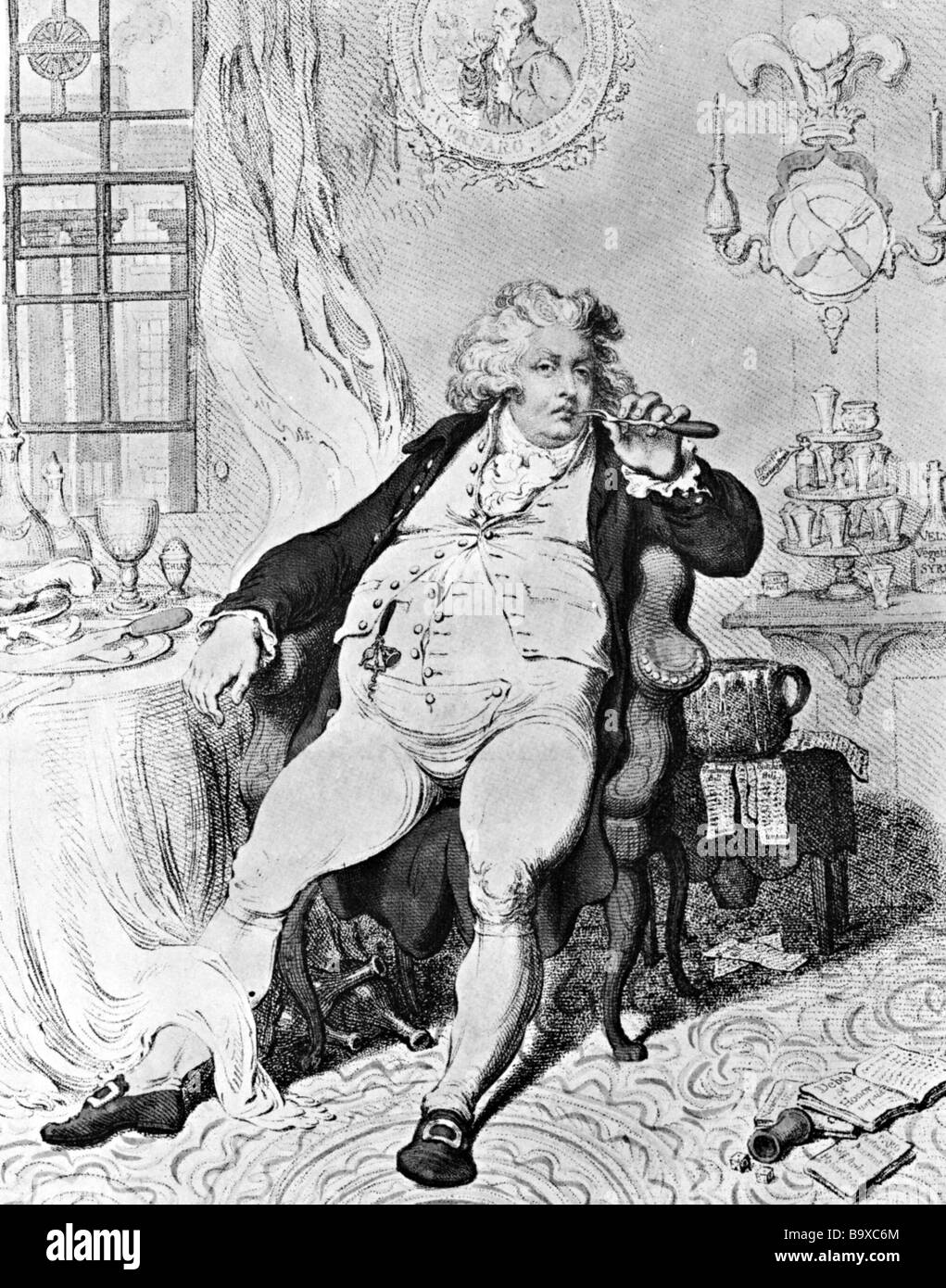 PRINCE REGENT as caricatured by Gillray in 1796 - Stock Image