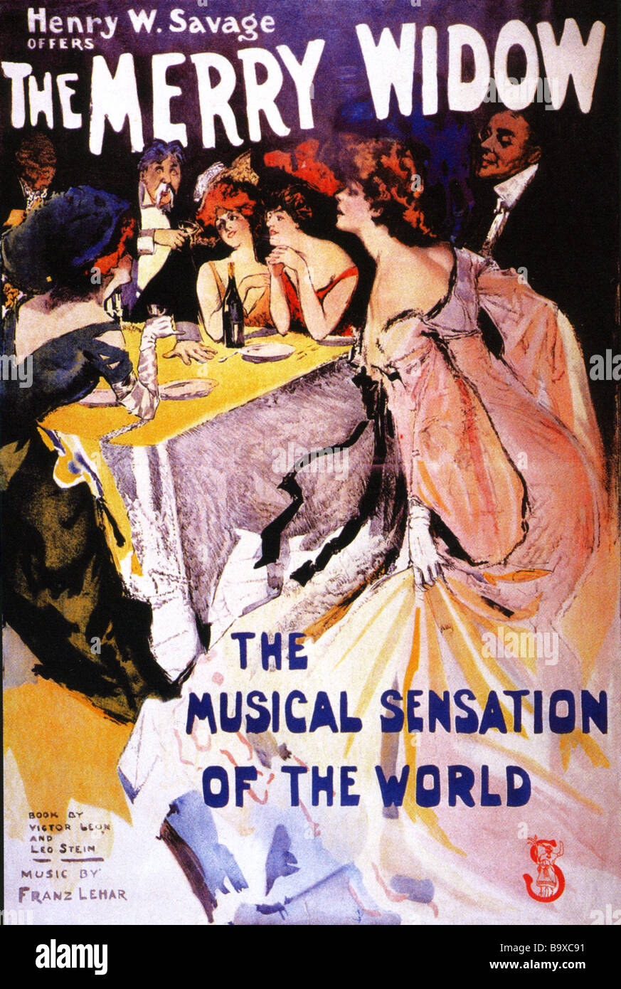 THE MERRY WIDOW Poster for the Broadway production which opened on 21 October 1907 - Stock Image