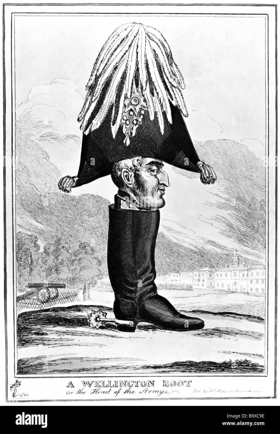 DUKE OF WELLINGTON (1769-1852) Cartoon showing him in the Wellington boot named after him published in 1827 - Stock Image