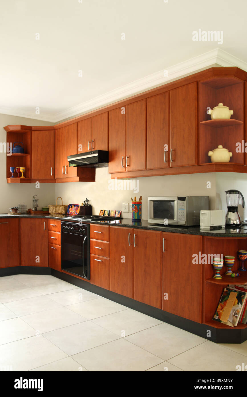 Kitchen Design With Cherry Cabinets Stock Photo Alamy