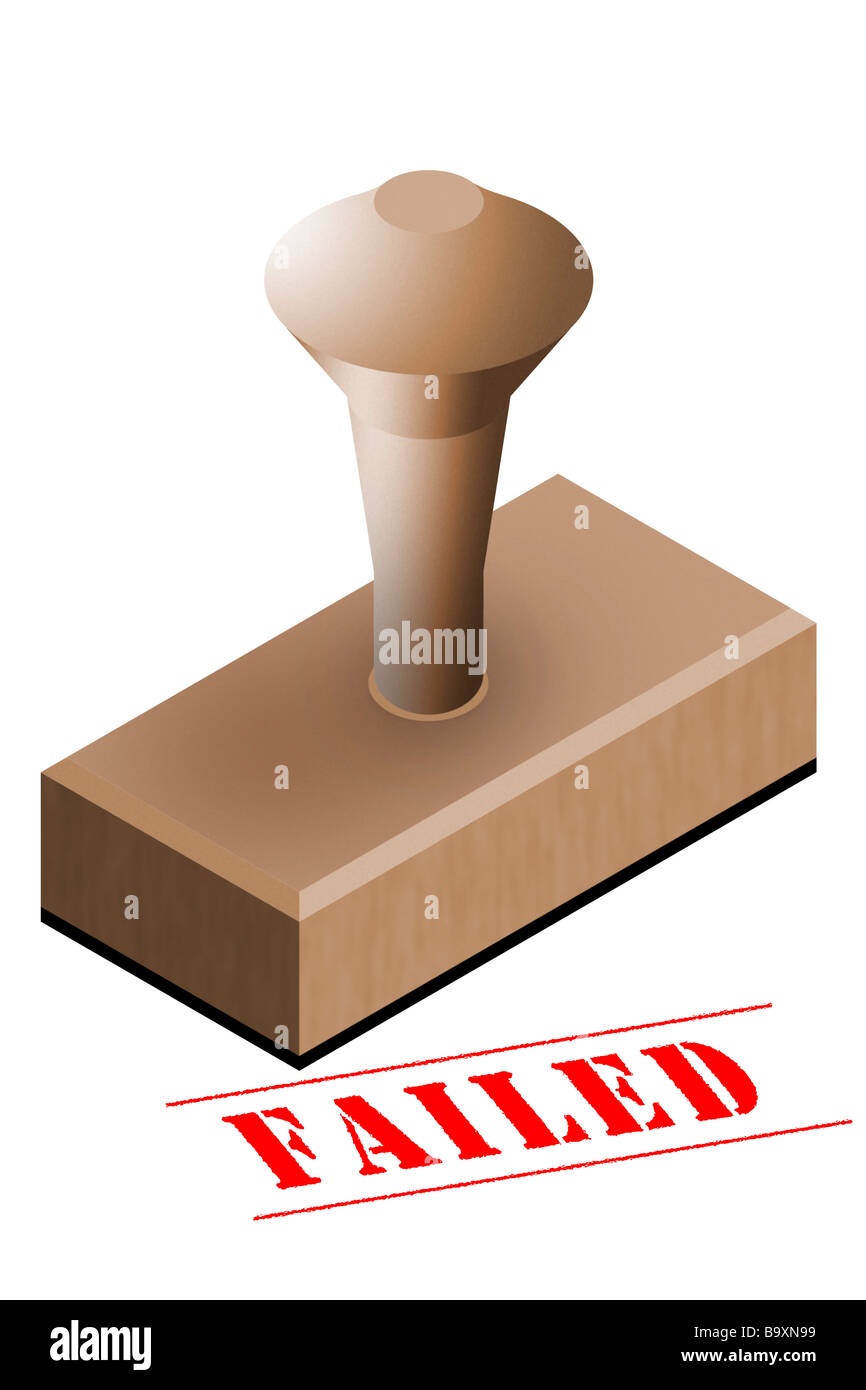 Failed office rubber stamp - Stock Image