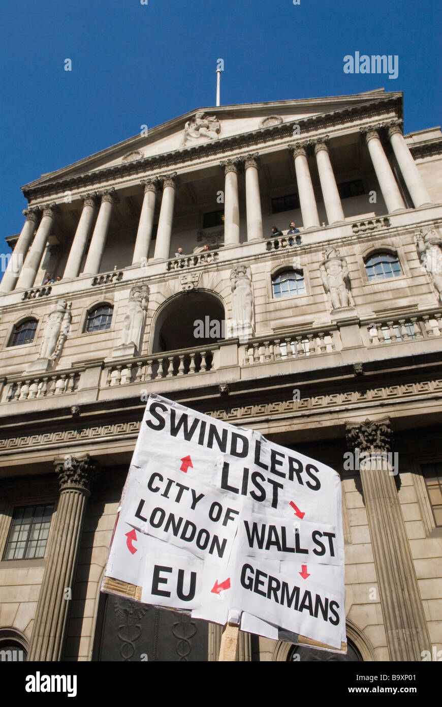 G20 protest outside bank of England Threadneedle Street. PHOTO HOMER SYKES - Stock Image