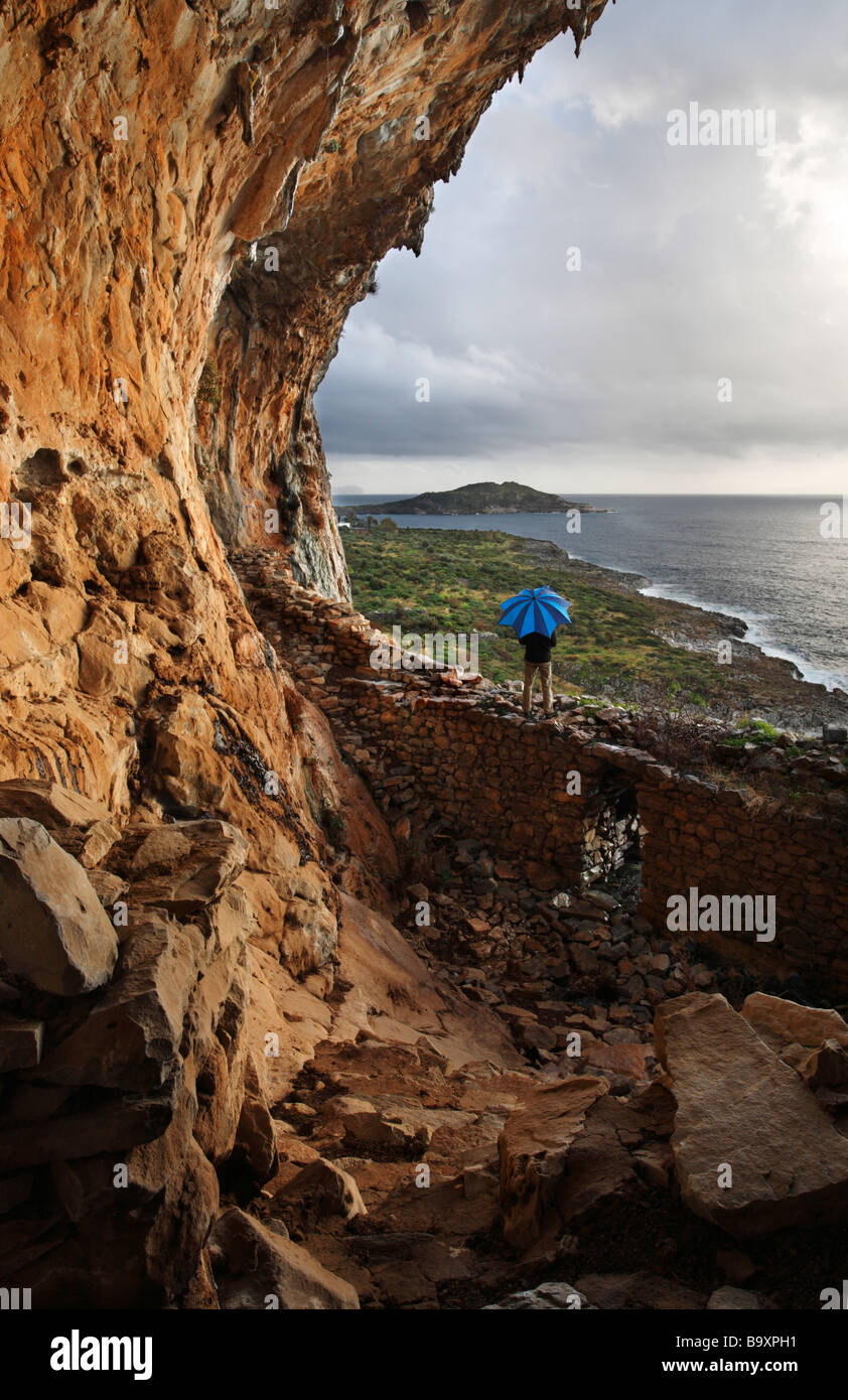 View from coastal cave between Agios Dimitrios and Trachila the Mani Peloponnese Greece - Stock Image