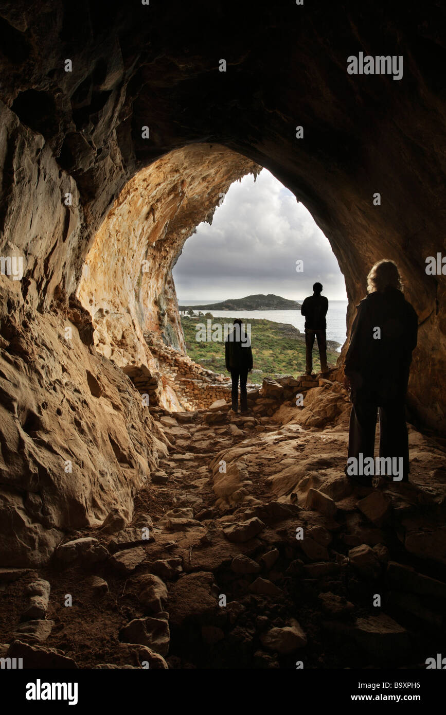 View from inside a coastal cave between Agios Dimitrios and Trahila the Mani Peninsula Peloponnese Greece - Stock Image