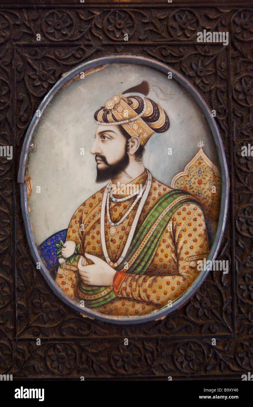 Miniature Painting of Shah Jahan Builder of the Taj Mahal - Stock Image