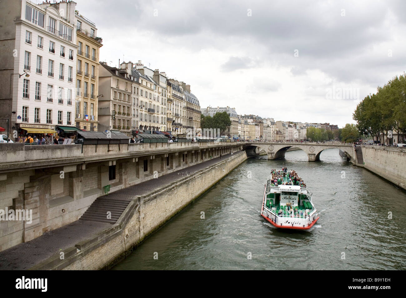 Tourist boat on the Seine river in Paris, France - Stock Image