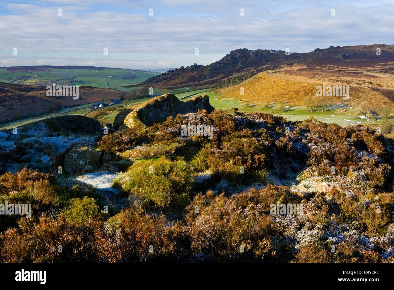 View of The Roaches from Ramshaw Rocks near Leek in the Staffordshire Peak District in winter with frost on the - Stock Image