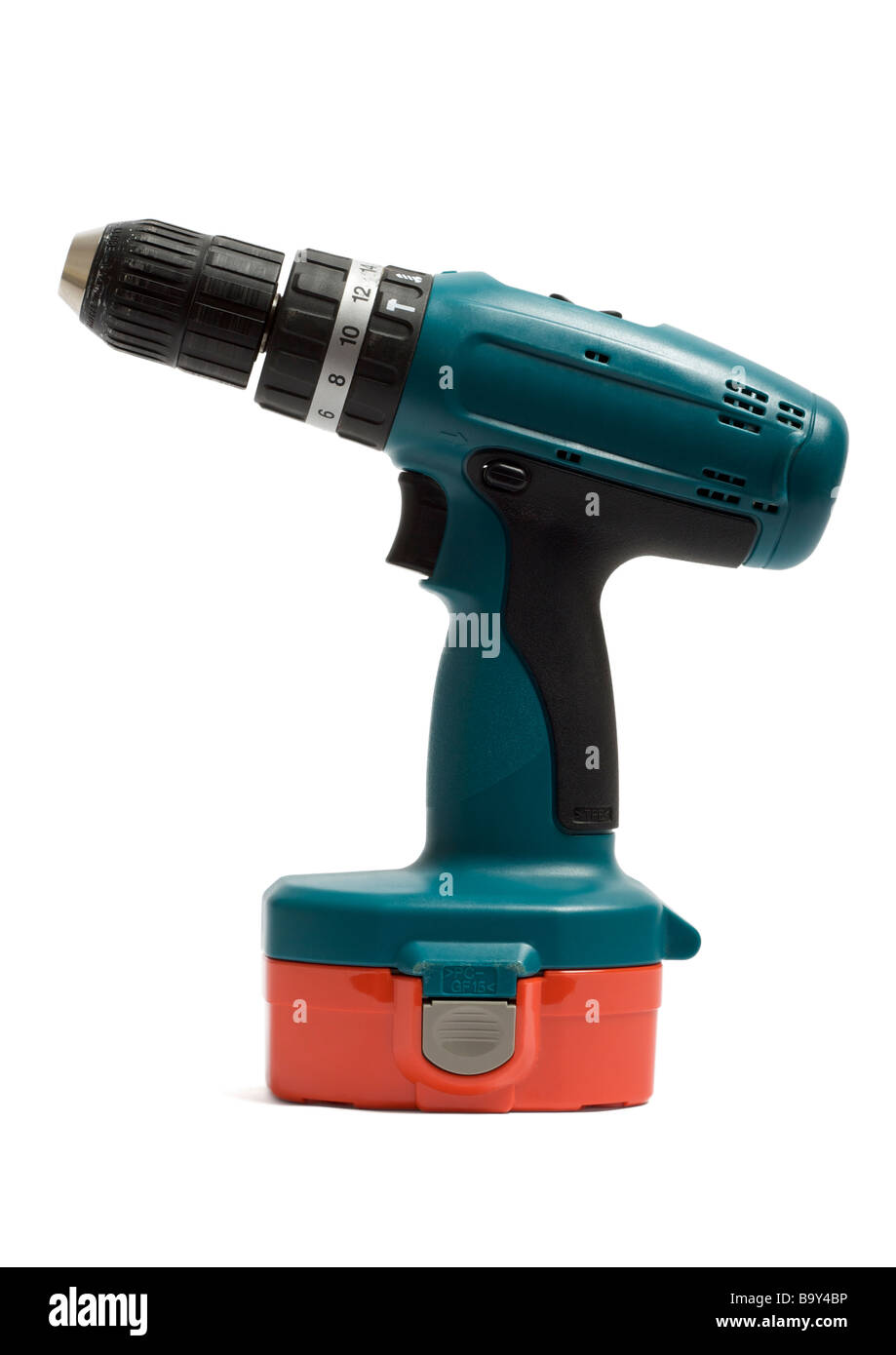 Cordless drill on white background - Stock Image