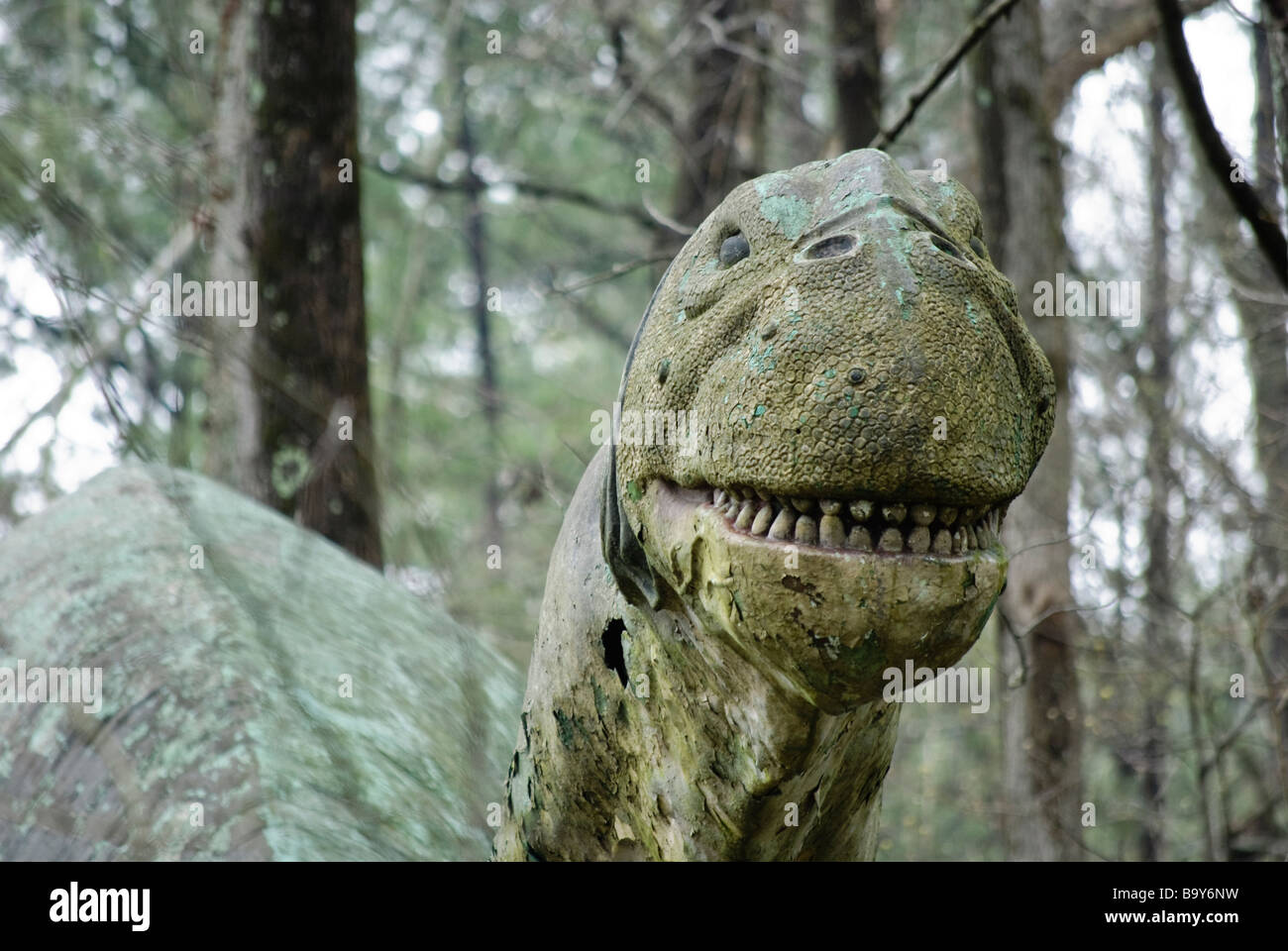 Head of a Neglected Statue of a Brontosaurus dinosaur - Stock Image