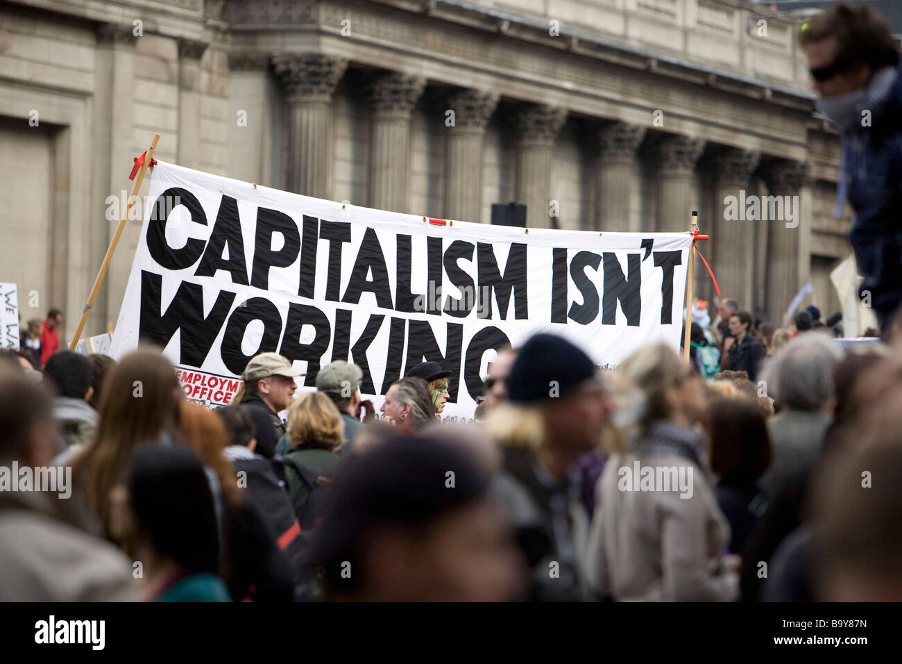 G20 meltdown protest outside the Bank of England - Stock Image
