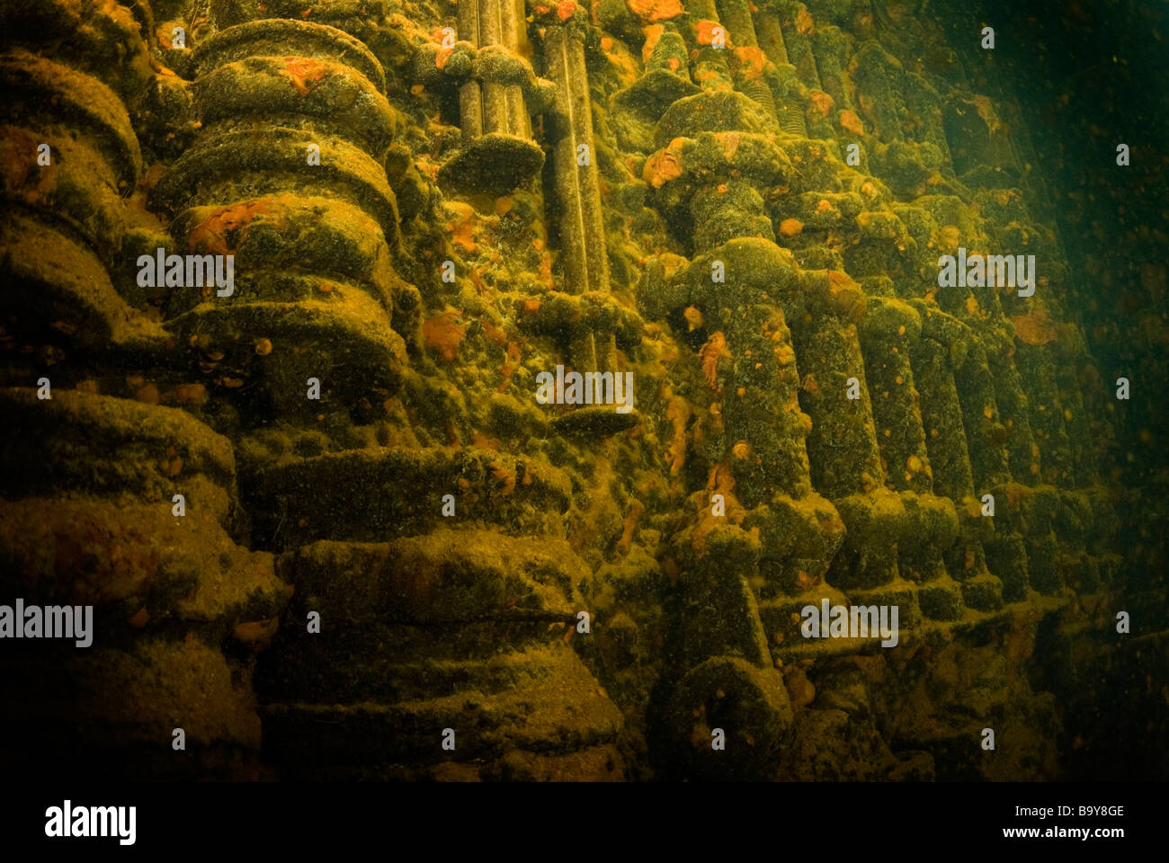 Wall of bolts and nuts of the engine room in the Kenshu Maru wreck in Turk Lagoon Micronesia Stock Photo