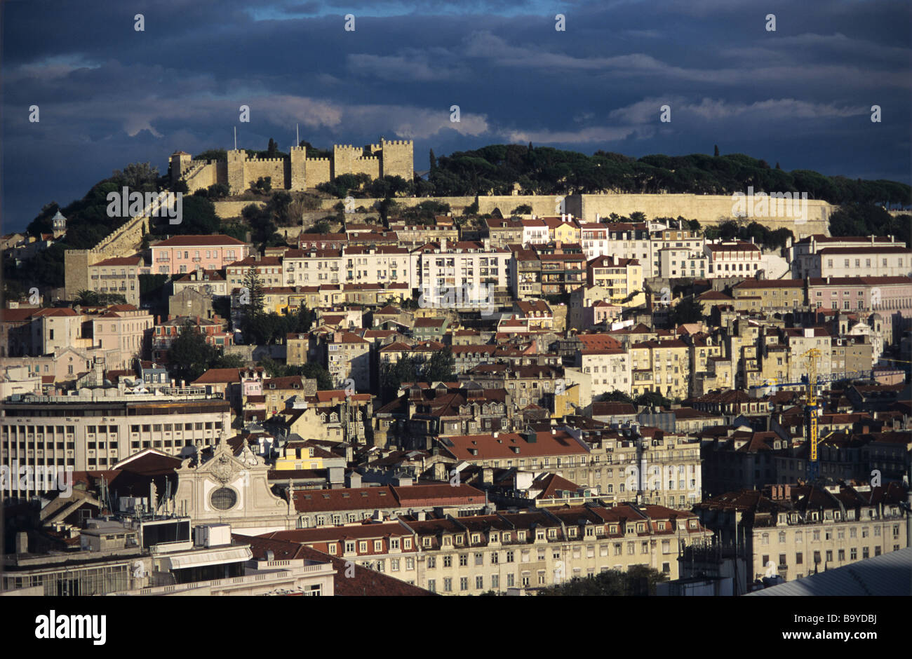 Panoramic View over Lisbon and Saint George's Castle, with Stormy Evening Clouds, Lisbon, Portugal - Stock Image