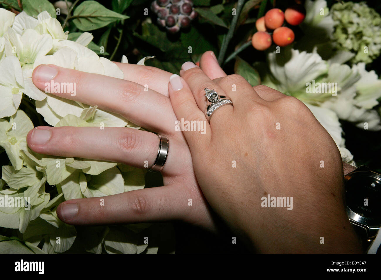 A Couples Hands Showing Their Wedding Rings Stock Photo 23346071