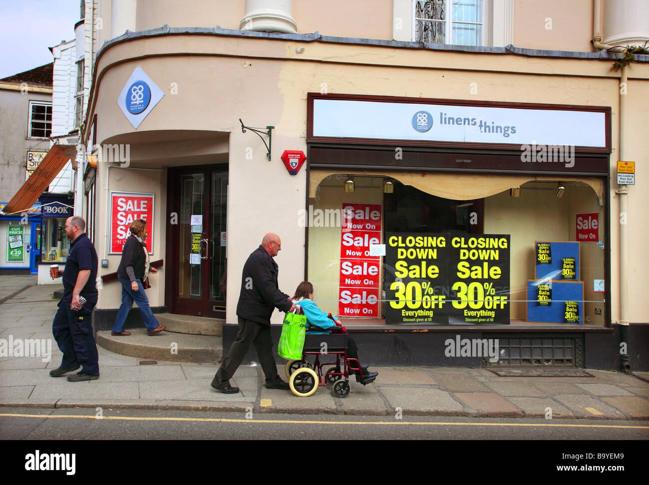 Closing down sale, Tavistock, Devon, UK. - Stock Image