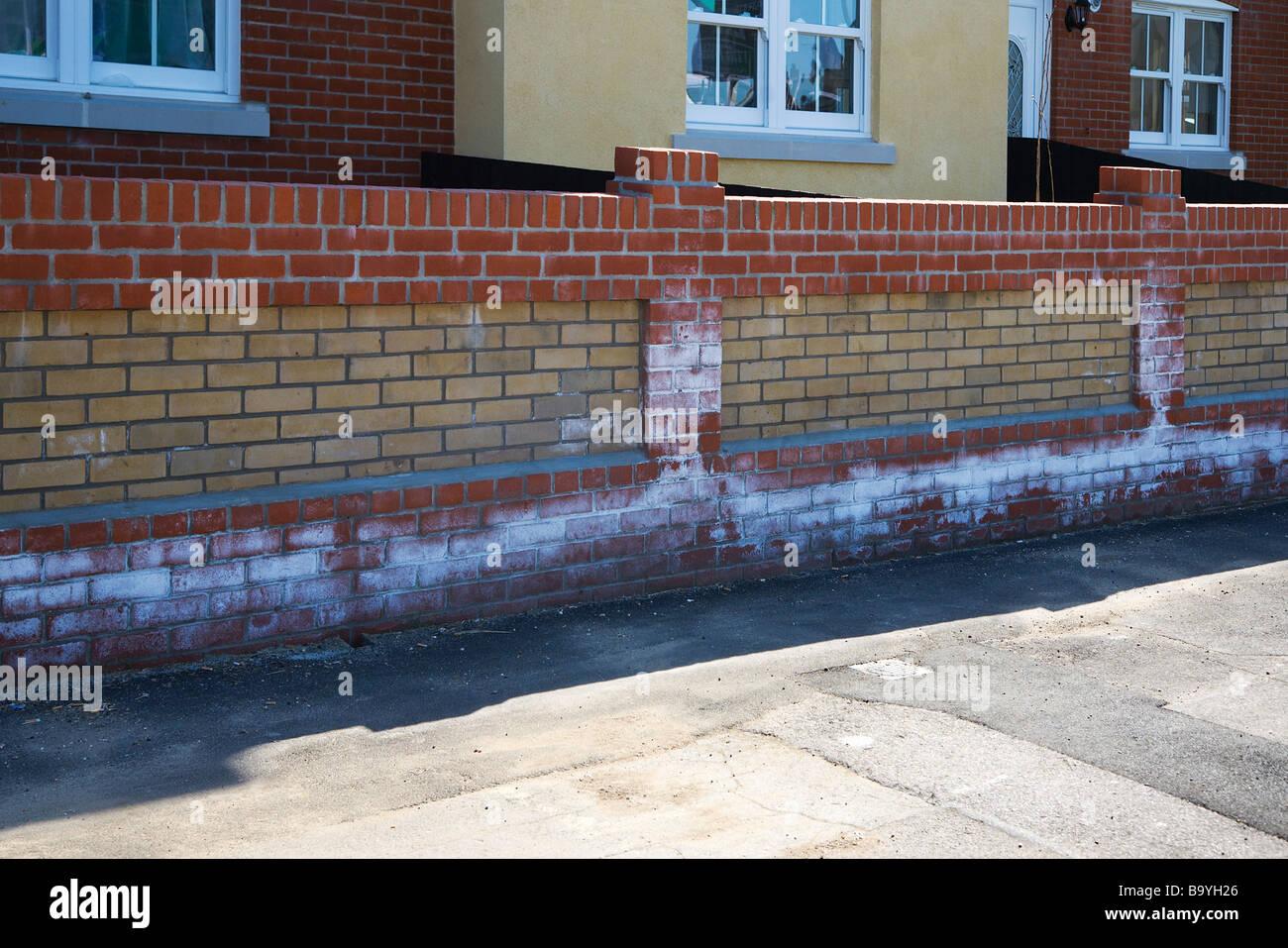 An example of efflorescence on new brickwork. Dorset. UK. - Stock Image