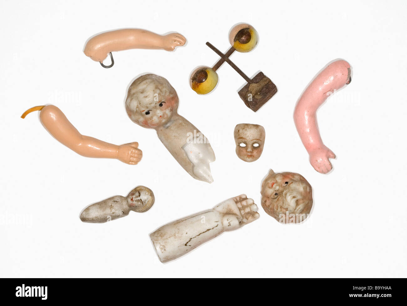 Antique doll parts. - Stock Image