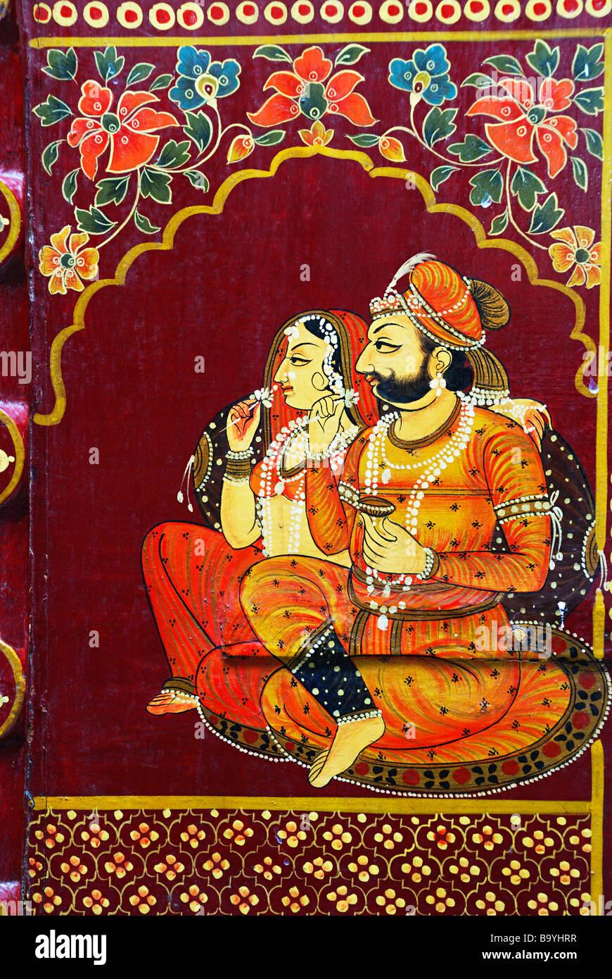 Rajasthani Painting on Window, Rajasthan State, India. - Stock Image