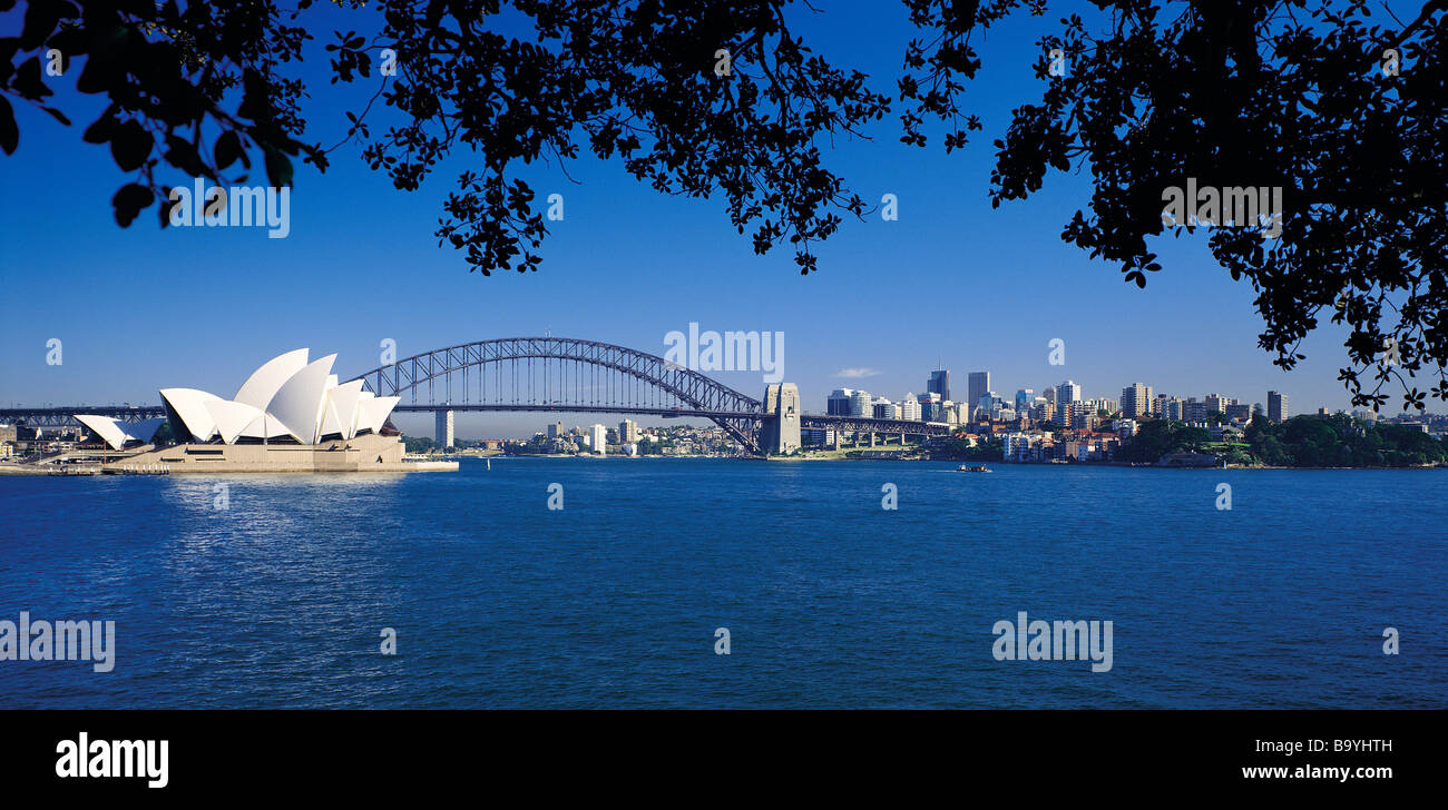 Sydney Harbour Bridge and Opera House New South Wales Australia - Stock Image