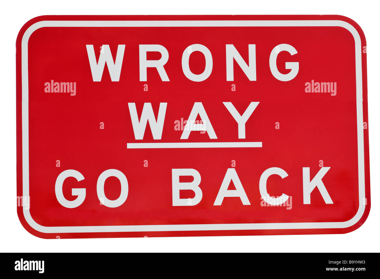 Street or road sign detailing a wrong way road - Stock Image