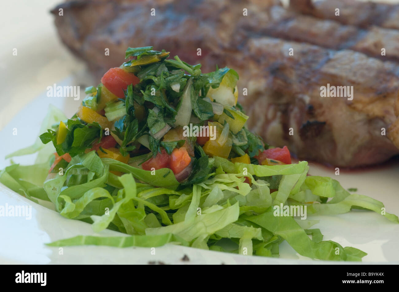 Detail of a juicy prime rib entrecote steak with vegetable salad - Stock Image