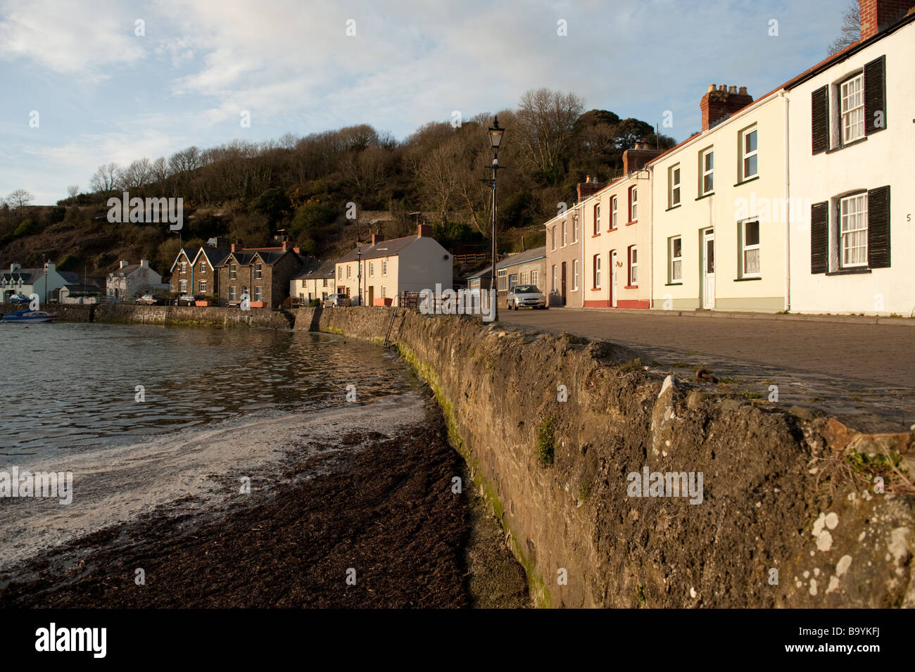 Quayside houses in Lower Fishguard Harbour, Pembrokeshire, wales, UK, GB, Great Britain, Europe - Stock Image