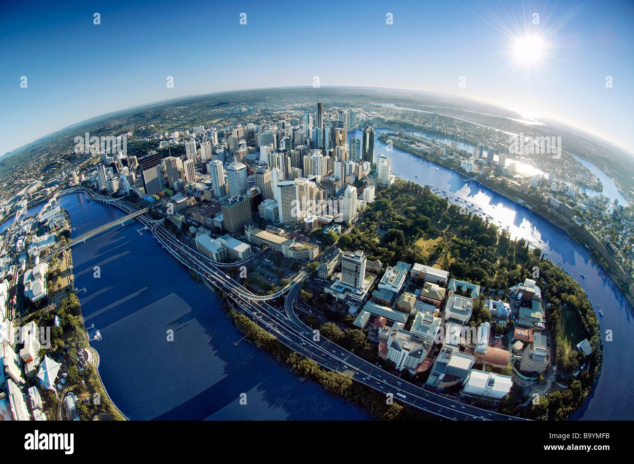 Brisbane city fisheye aerai view - Stock Image