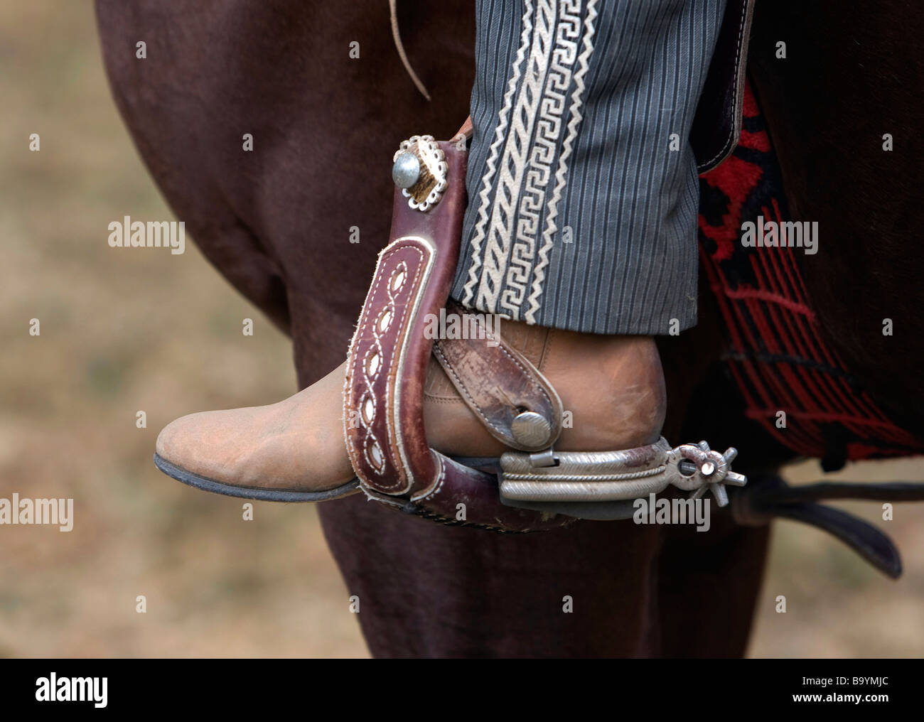 View of a Mexican Horseman's Spurs - Stock Image