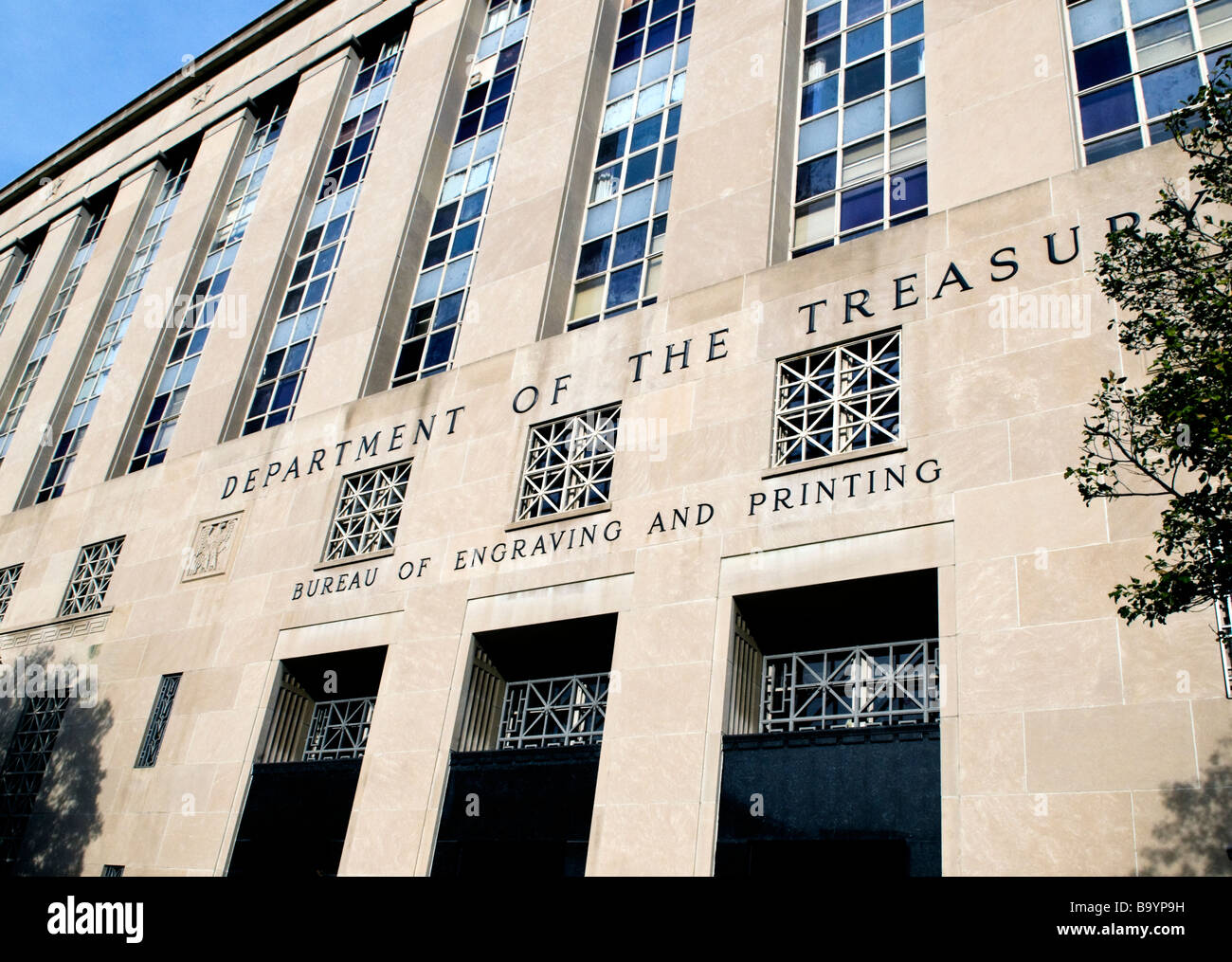 Department of the Treasury Bureau of Engraving and Printing in Washington DC - Stock Image
