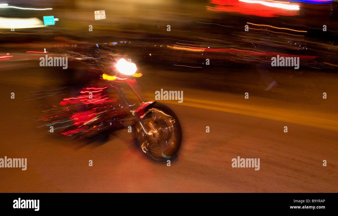 Bike at speed on Main St Daytona Beach Florida USA - Stock Image