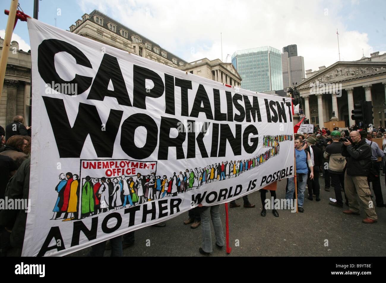 Anti-capitalist demonstrators outside Bank of England, during G20 summit, City of London, UK - Stock Image