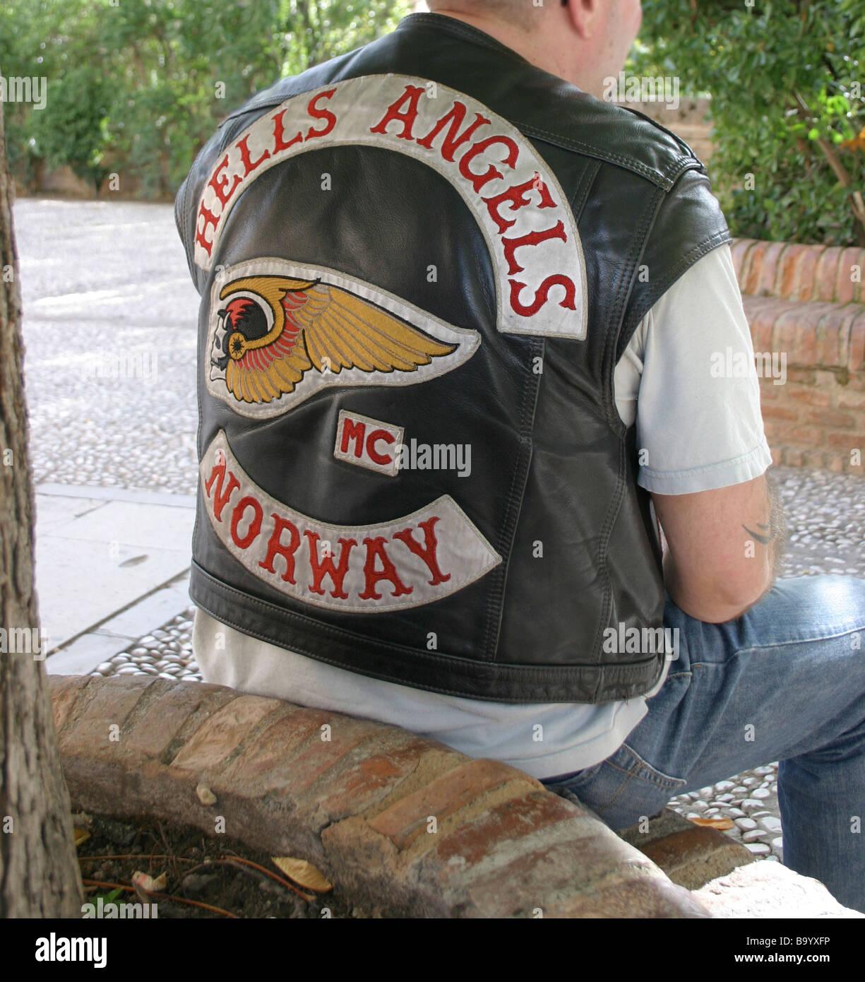 Hells Angels Norway  A man in a short sleved leather biker jacket