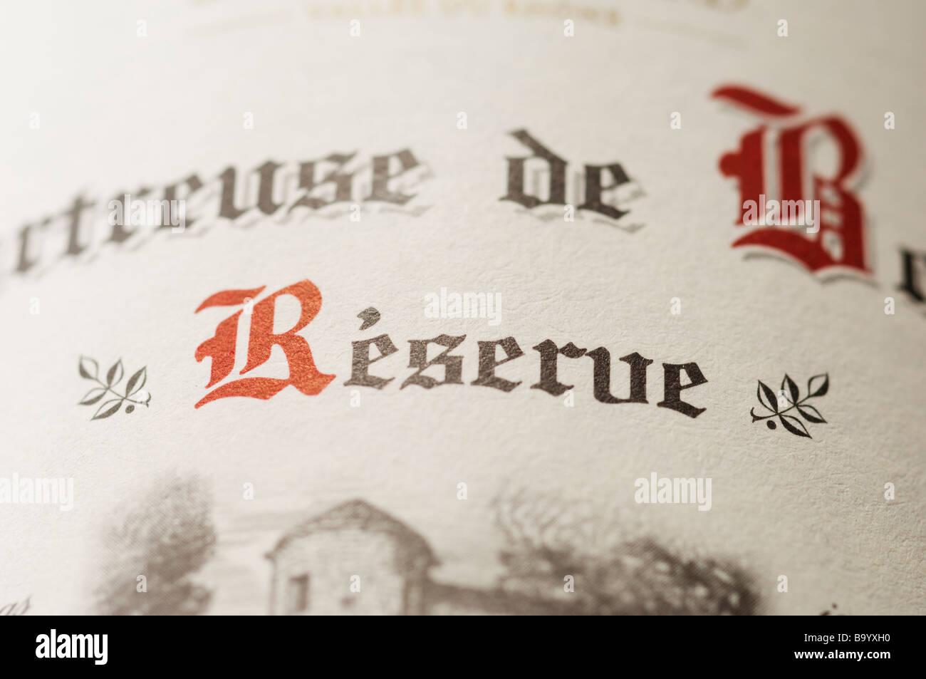 Louis Bernard Chartreuse de Bonpas Reserve wine bottle label closeup - Stock Image