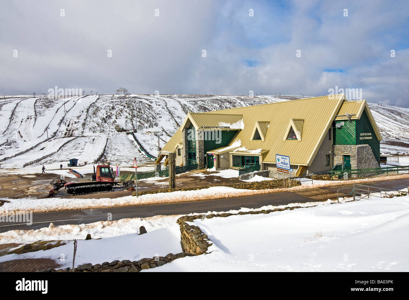 Main building of the Lecht Ski Centre at the summit of A939 in the Grampian Mountains Scotland - Stock Image