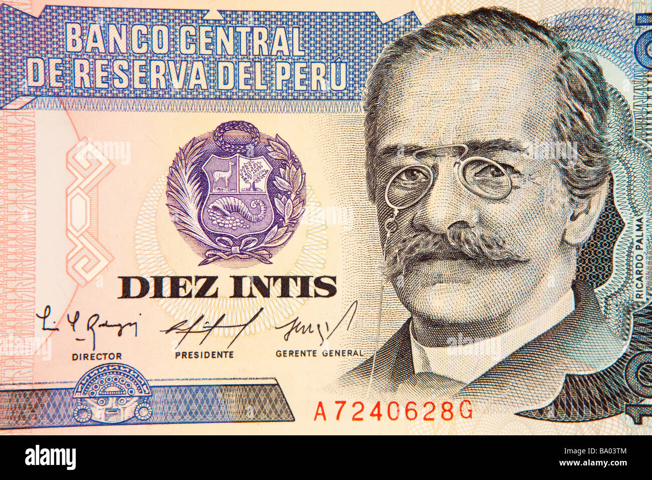 Money peru currency detail of peruvian 10 inti banknote stock photo money peru currency detail of peruvian 10 inti banknote altavistaventures Images