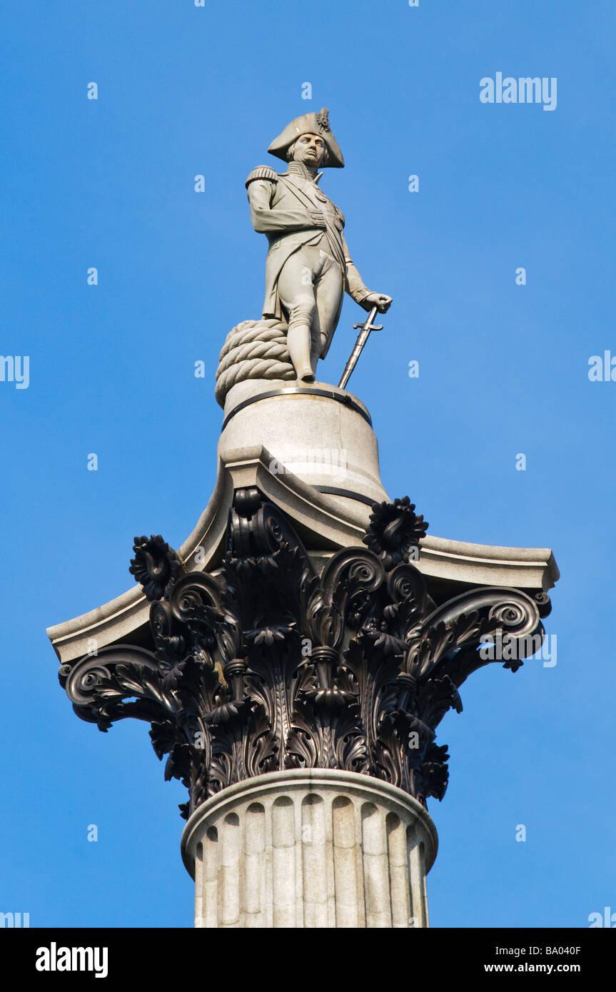 Statue of Horatio Nelson (Nelson's Column) in Trafalgar Square - Stock Image