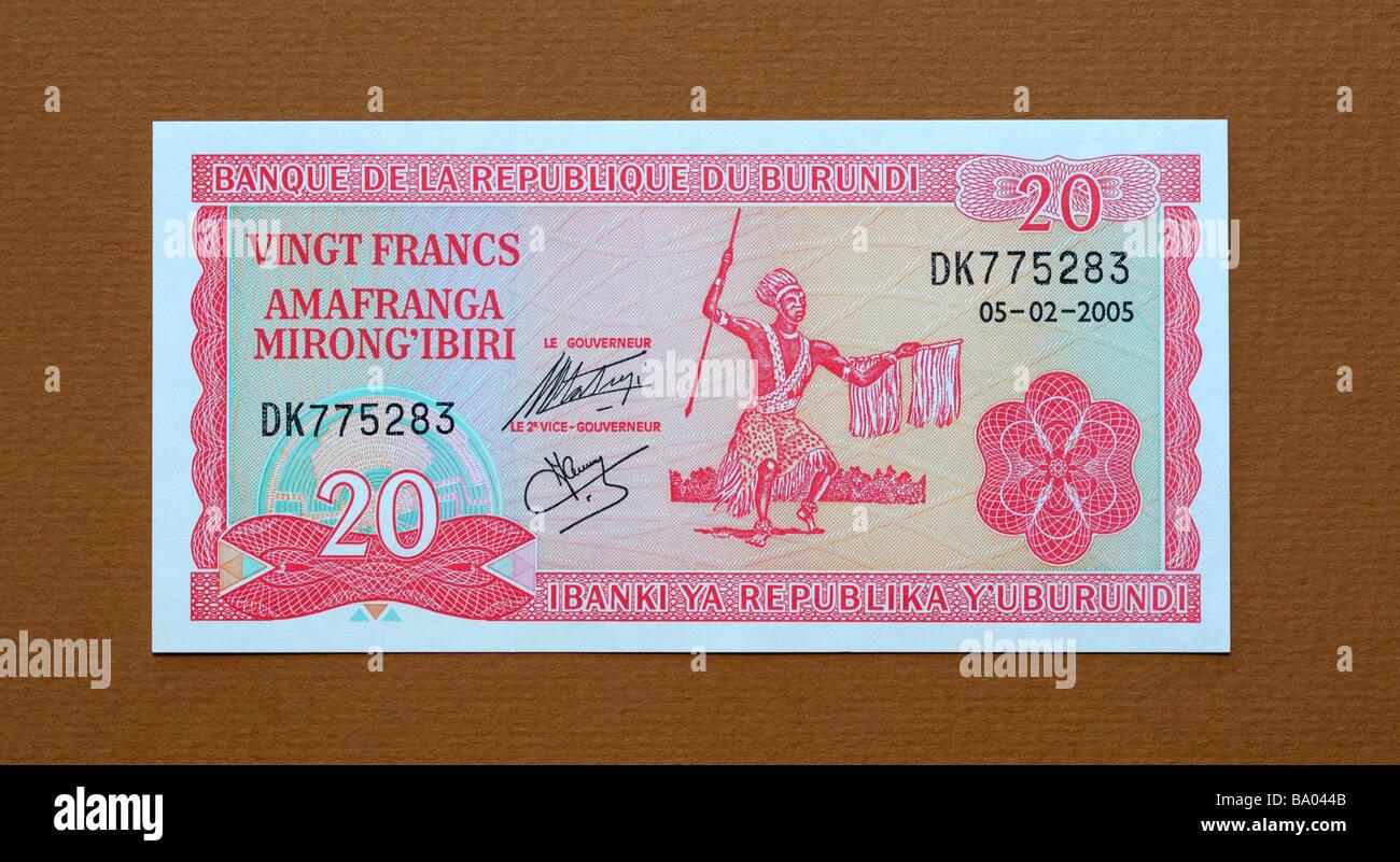 Republic of Burundi 20 Twenty Franc Bank Note - Stock Image