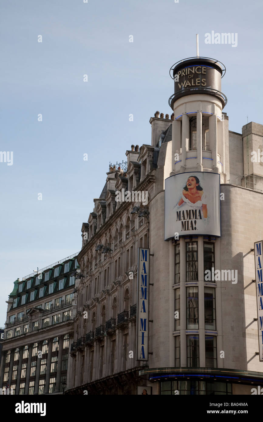 Prince of Wales Theatre showing Mamma Mia - Stock Image