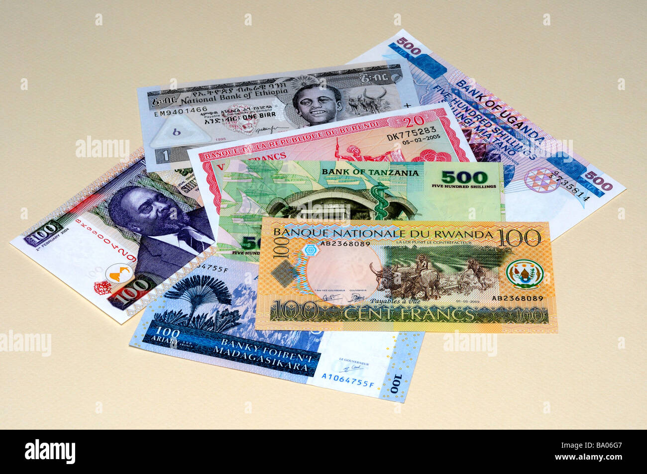 East African Banknotes Stock Photo