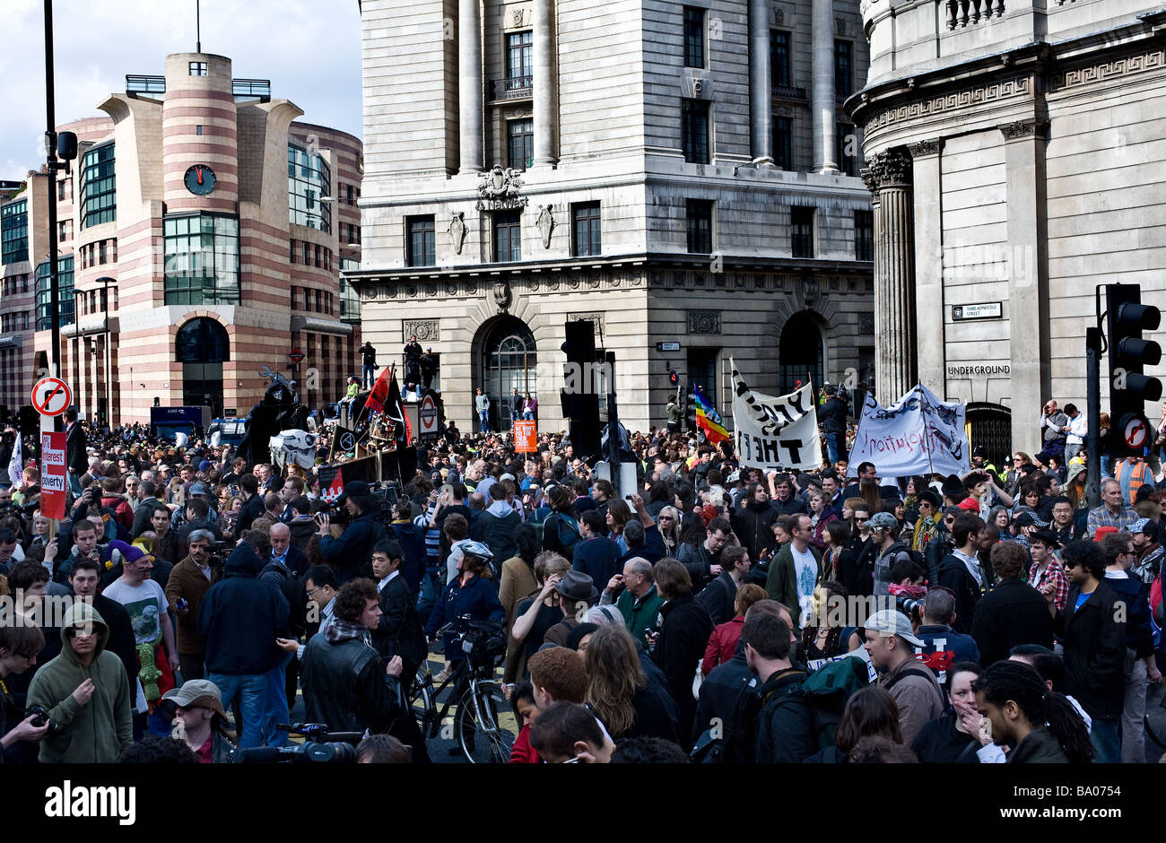 Protesters at the G20 demonstration in the City of London. - Stock Image