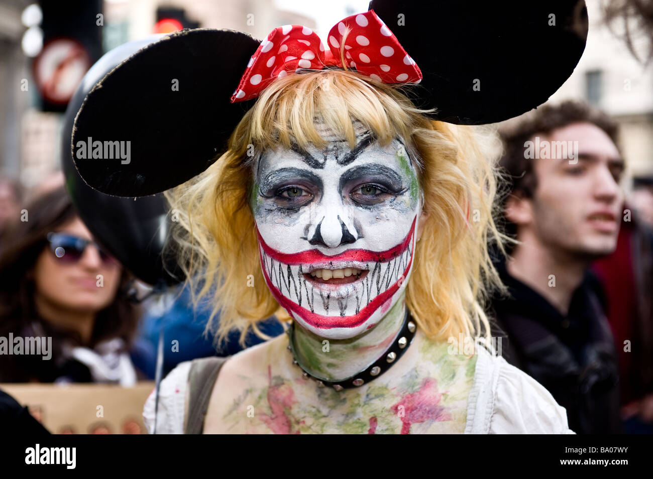 Protester at the G20 demonstration in the City of London. - Stock Image
