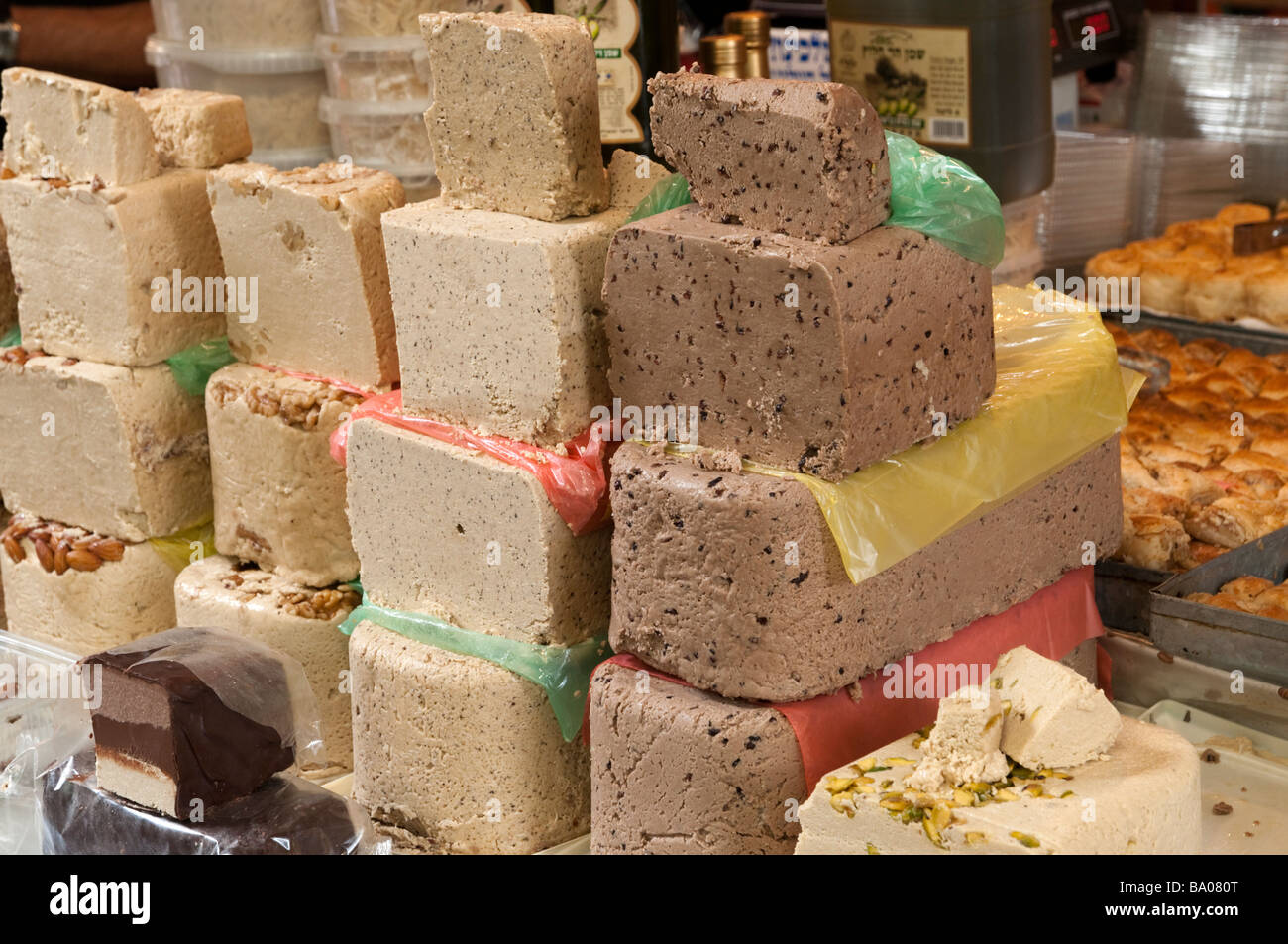 Halva on a food stall in Carmel Market, Tel Aviv, Israel - Stock Image