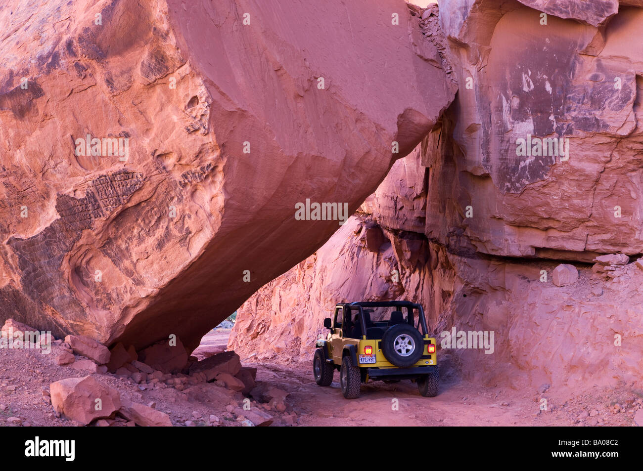 Jeep on the Long Canyon Trail near Moab Utah - Stock Image