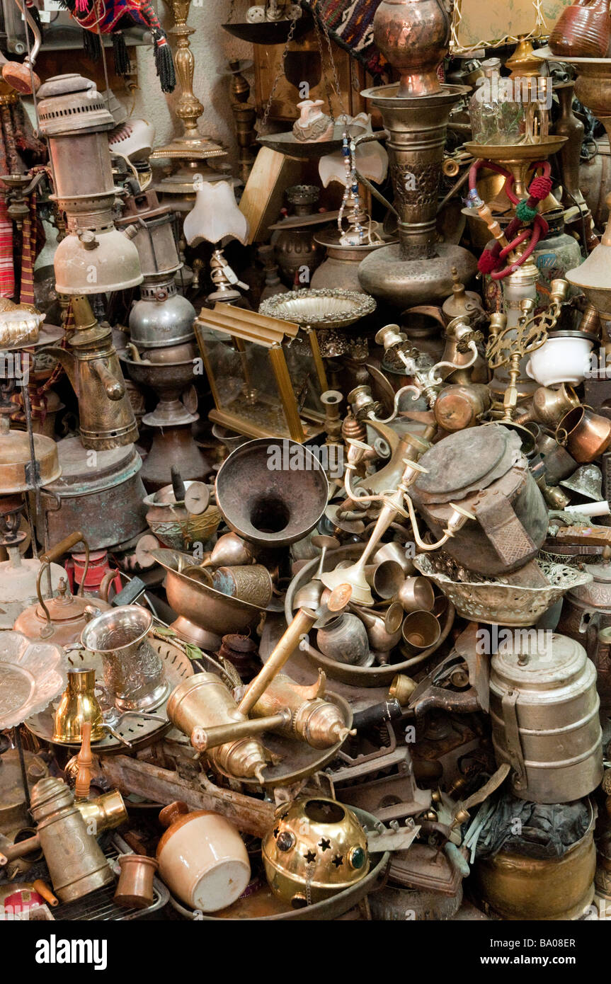 Assortment of items being sold in the Arab Quarter of the Old City, Jerusalem Israel - Stock Image