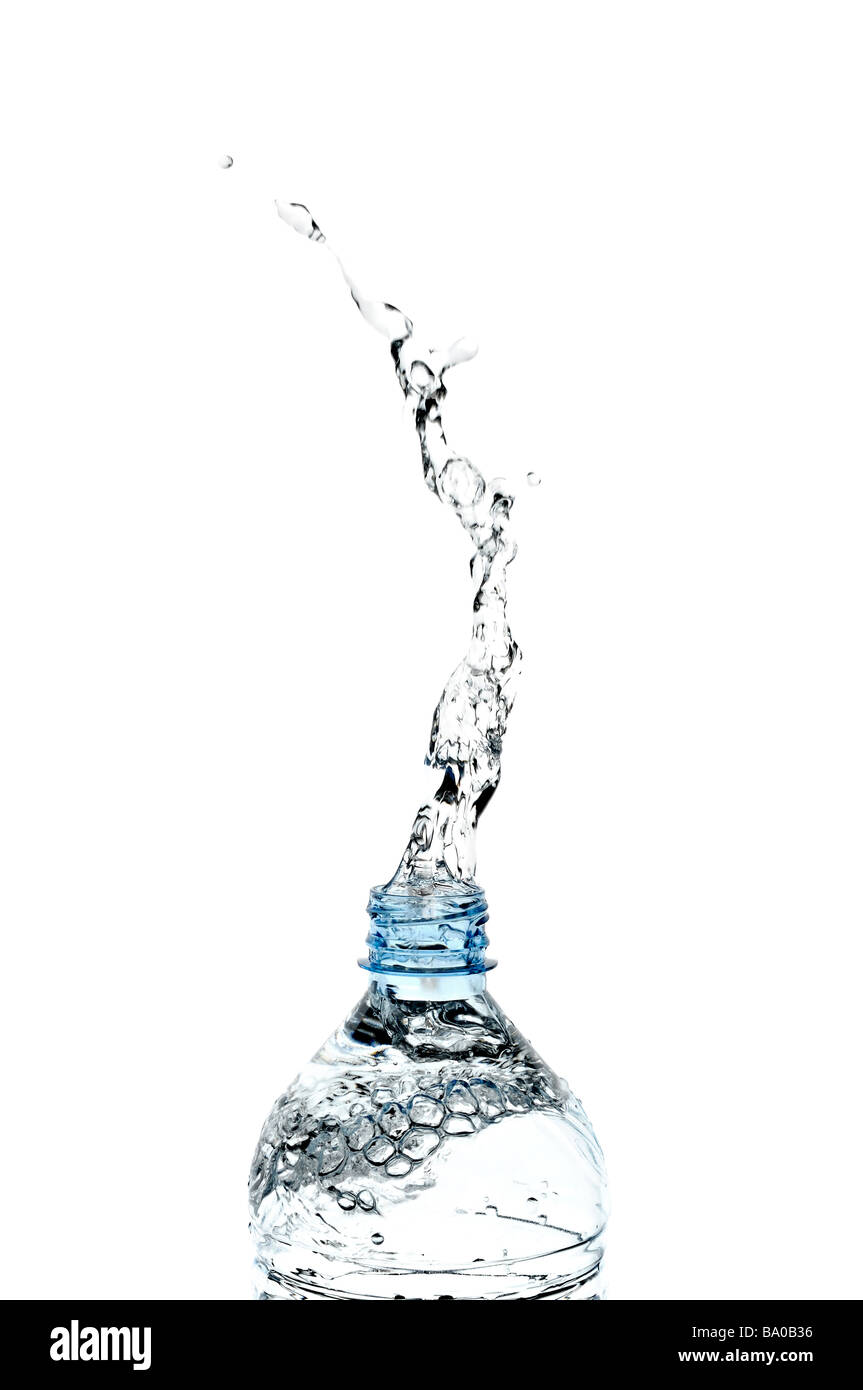 Water Splashing from a Bottle Stock Photo