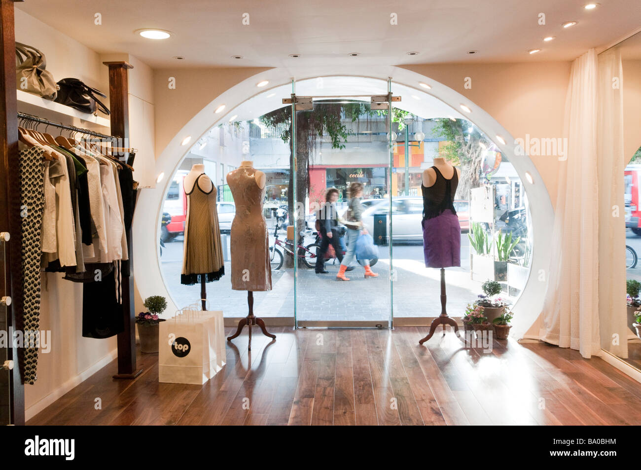 Fashionable clothes shop on Dizengoff Street Tel Aviv, Israel - Stock Image
