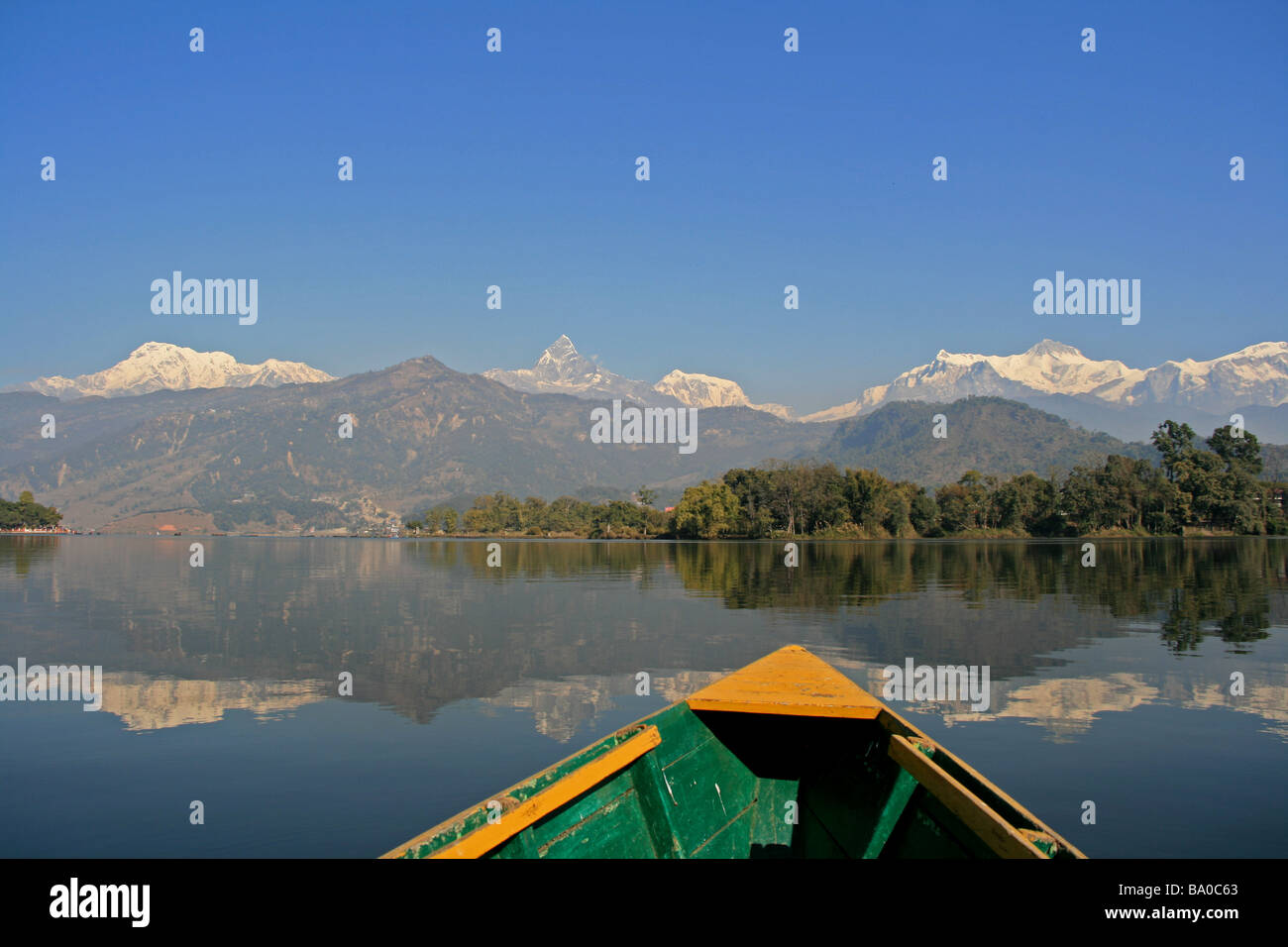 Annapurna mountains as seen from Phew Tal, Pokhara, Nepal - Stock Image