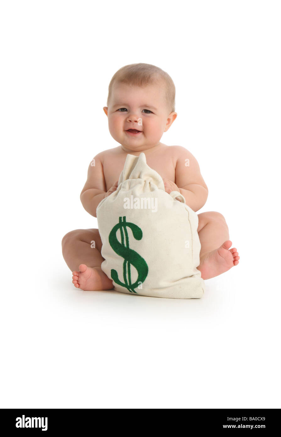 Baby with moneybag on white background - Stock Image