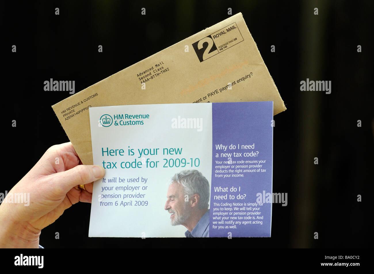 HM Revenue Customs new tax code documentation document Stock Photo