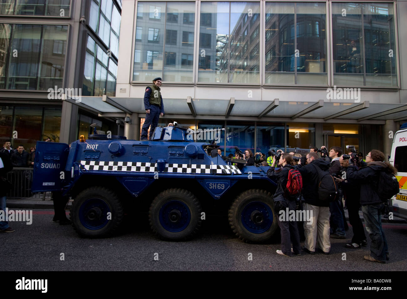 G20 demonstration London, space hijackers anarchist group in fake riot squad van outside rbs royal bank of scotland, - Stock Image